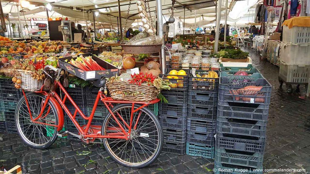 Campo de Fiori Rom Markt Fahrrad
