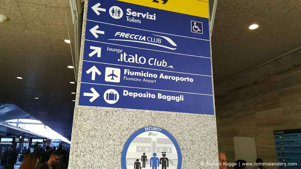 Leonardo Express Schilder Bahnhof Termini Rom