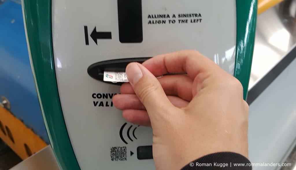 Ticket Entwerten Trenitalia Entwertungsautomat