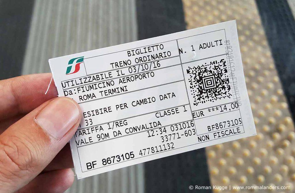 Ticket Fahrschein Leonardo Express