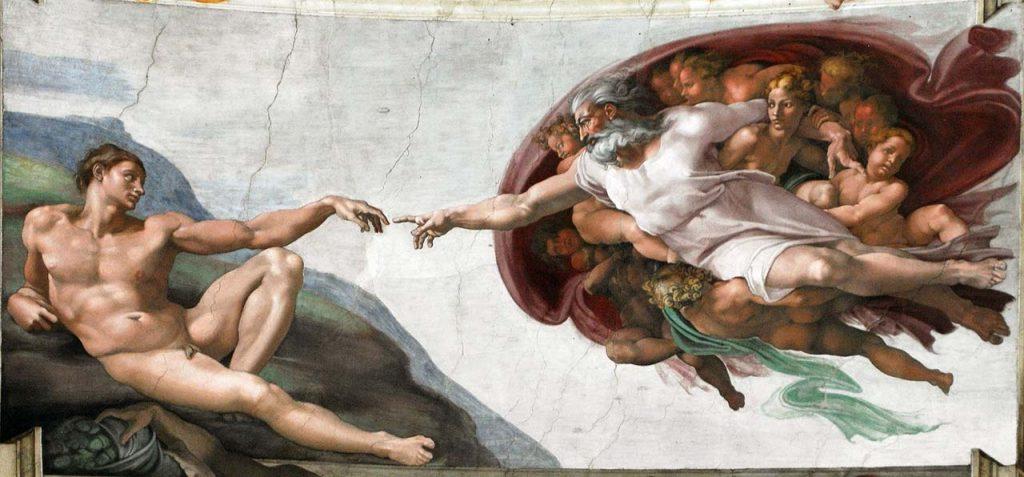 Erschaffung Adams Sixtinische Kapelle Rom