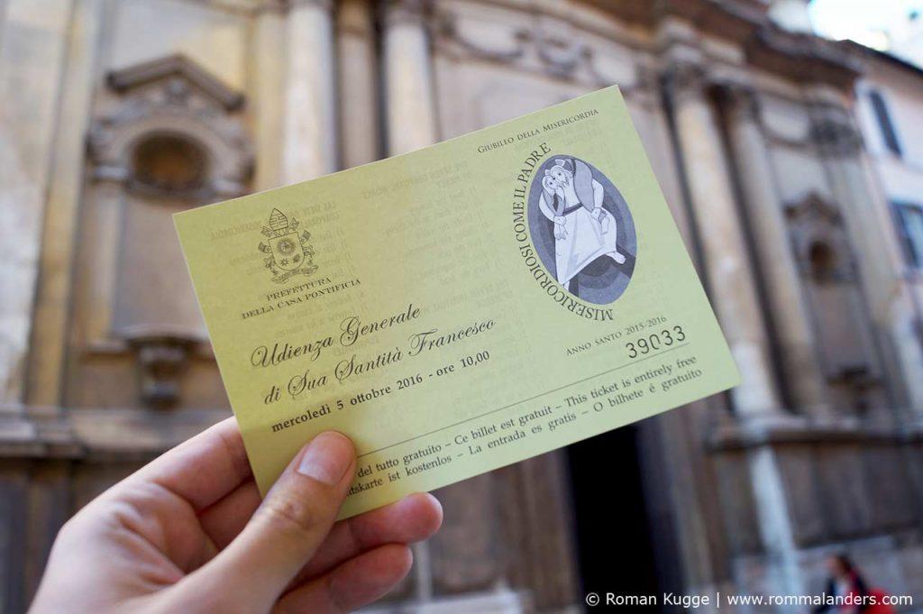 Karten Tickets Papstaudienz