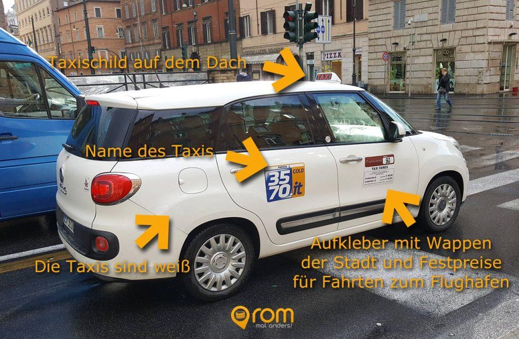 Taxi in Rom erkennen - alle Merkmale